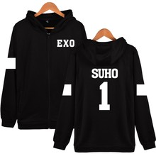 New SUHO 1 Design Hoodies Women Hip Hop With Zipper EXO Kpop Fashion Black  Cotton Long Sleeve Womens Winter Jackets And Coats