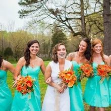 Above Knee Emerald Green Bridesmaid Dress Empire Waist Sweetheart Off the Shoulder  Vestidos De Maid Guests 78a3c175c3e9