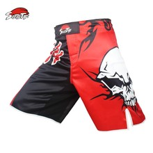 SUOTF MMA boxing personality skull movement cotton loose size training kickboxing shorts muay thai boxing shorts short muay thai