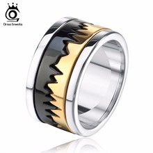 ORSA JEWELS Biker Men's Ring Perfect Polished Stainless Steel Black Mix Gold-Color Finger Jewelry for Men&Women GTR17