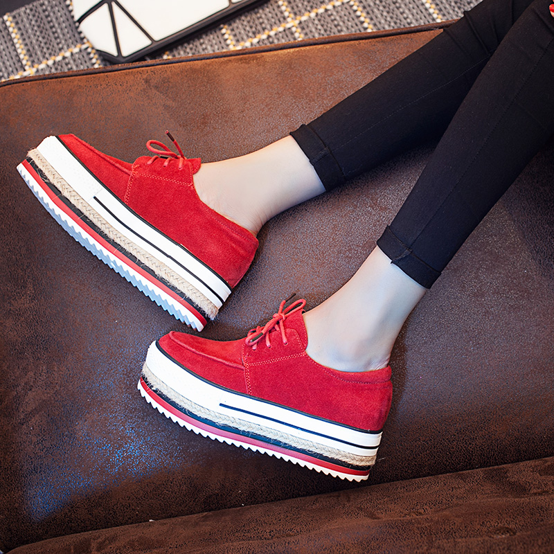 Creepers 2017 New Fashion Casual Flat Platform Shoes Lace Up Genuine Leather Shoes Height Increasing Tenis Feminino Scarpe Donna<br><br>Aliexpress
