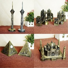 New Metal Handicrafts Iran Milad Tower Egyptian Pyramids Building model London Tower Bridge Home Oranments Architects Gifts(China)
