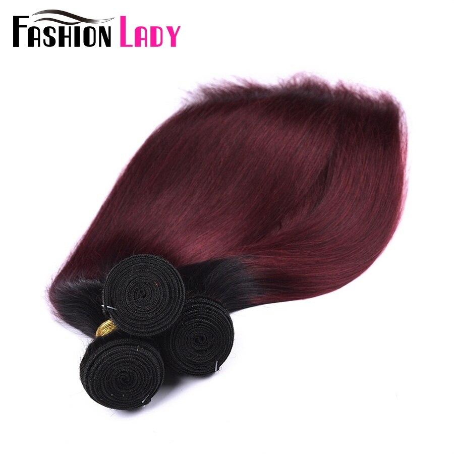 Fashion Lady Pre-Colored 1b/99j Ombre Brazilian Straight Hair 4 Bundles 100% Human Hair Weave Bundles Non-remy Hair Extensions