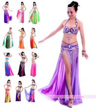 New Belly Dance Costume outfits 3 Pics Full Set Bra&Belt&Skirt 34B/C 36B/C 38B/C 40B/C 13 Colors(China)