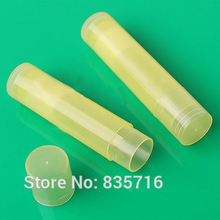 50PCS/LOT Free Shipping 5G LIP BALM Tubes Transparent Yellow PP Lipstick tube, DIY Lip tube (not including the lip cream ) RB45(China)