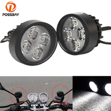 POSSBAY Pair 4 LED Lights Scooter Motorcycle Headlight Motocicleta Fog Lamp 15W For Harley Honda Suzuki Yamaha Cafe Racer Moto