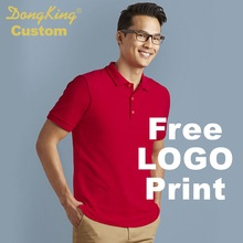 DongKing Custom Double Pique Shirt Adult Cotton Classic Fit Polo Shirt Contoured Welt Collar Print Logo Solid Shirts Team Gift(China)
