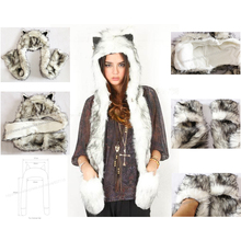 Free Shipping 1pc/Lot High Quality Crazy Fox Precious Faux Fur Hood Animal Hat With Ear Flaps and Hand Pockets 3 in 1 Function(China)