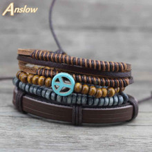 Anslow Hot Sale New Designer Peace Logo Wrap Rope Multilayer Wooden Beads Bracelets Wristband Female Leather Bracelet  LOW0266LB