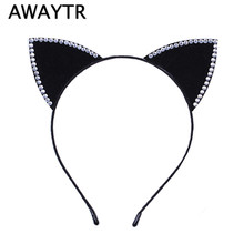 Halloween Women Cat Ears Faux Rhinestones Alloy Headband Hairbands Girls Hair Head Bands Cute Headband Headwear Accessories(China)