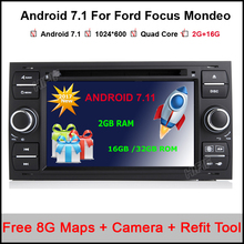 1024*600 2 Din Android 7.11 Quad Core Car DVD Player GPS Navigation WIFI 3G for FORD S-Max Kuga Fusion Transit Fiesta Focus II(China)