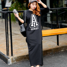 Large size women's spring new fat mm new printing letters loose straight tube significantly thin long sleeved dress 910(China)