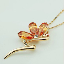 DCM Free Shipping Fashion Crystal Necklace Rose gold Color long chain Crystal Necklace jewelry women's Gift