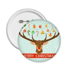 Snowman Snowflake Dog Santa Claus Cartoon Tree Merry Christmas Festival Sketch Illustration Pattern Round Pin Badge Button 5pcs