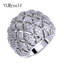 2017 Trendy Jewelry ring female wholesale dropshipping in Gold/White Color chinese market online crystal big rings for women(China)