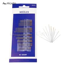 Hicello 45pcs/bag Sewing Needles Stainless Steel Sewing Tool Hand Gold Color Embroidery Mending Craft Sew Quilting Tool Costura(China)