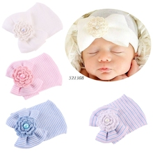Newborn Baby Infant Toddler Girls Bow Flower Soft Hospital Cap Beanie Cute Hat(China)