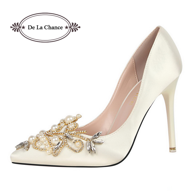 2017 Spring Summer Pearl Rhinestone High Heels Women Wedding Shoes White Diamond Bride Crystal Shoes Bridal Party Shoes Woman<br>