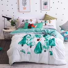 White duvet cover 100% cotton bedding set queen twin double size,tree pattern printed quilt cover/fox pillowcase green bed sheet