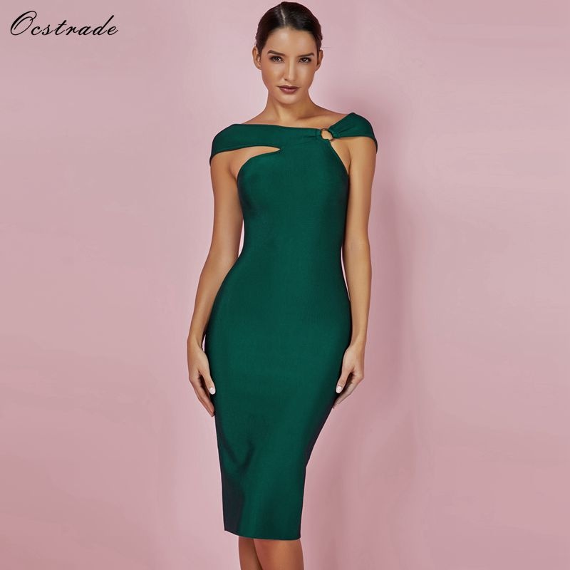 Ocstrade Bandage Party Dresses 2019 New Arrivals Green Bandage Bodycon Rayon Dress Sexy Off Shoulde Knee Length Bandage Dress