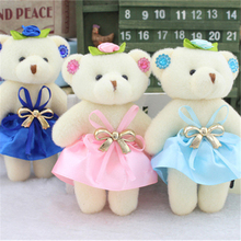 12PCS Mini Cute Teddy Bear Soft Toy Cheap Small Cartoon Joint Toys Bouquet Doll 12CM Wedding High Quality Wholesale Best Gift