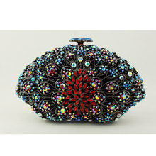Cheap Brand Name Purse for Women Fashion Crystal Clutch Evening Bag Black Chain Pillow Shape Female Bridal Clutch for Wedding