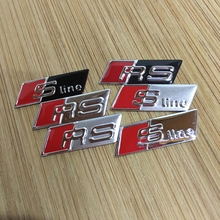 50X Sline S-line RS Steering Wheel Sticker 3D Aluminium Alloy Steering Wheel Badge Emblem 3D Car Sticker For Audi(China)