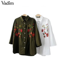 Vadim women elegant flower embroidery loose blouse oversized three quarter sleeve shirts ladies casual brand tops LT1831
