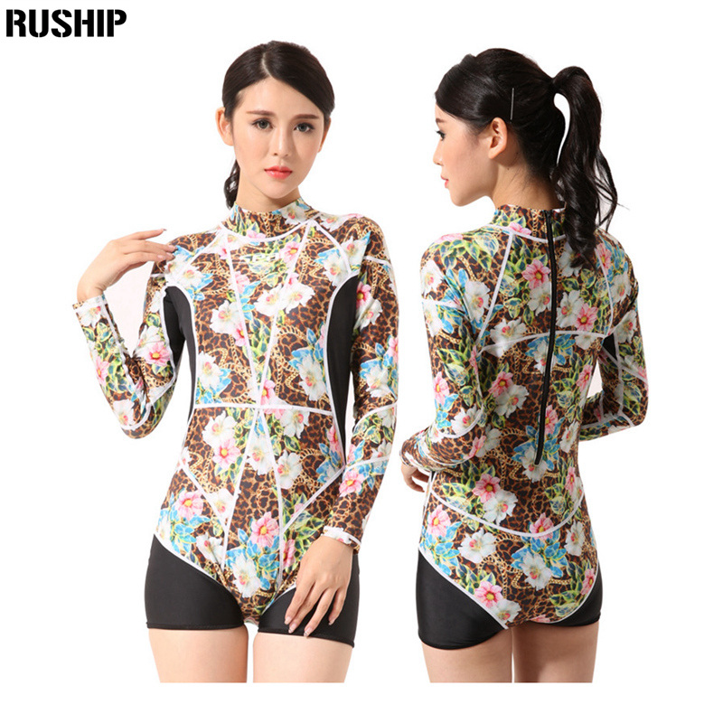 Print Floral Women Bathing Suit Retro Swimsuit Vintage One-piece Surfing Swim Suits One Piece Swimsuit Long Sleeve Swimwear<br>