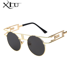 XIU Steampunk Gothic Sunglasses Women Brand Designer Sun glasses Retro Vintage Rose Gold Female Glasses Top Quality UV400