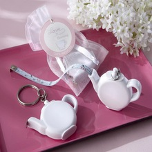 (100pcs/lot)FREE SHIPPING+Cheap Wedding Favors Love is Brewing Teapot Measuring Tape Keychain Portable Mini Key Chain Favor