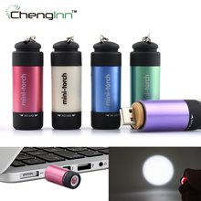 Mini flashligt Usb flash light Rechargeable torch Keychain Flashlight waterproof Pocket led torch portable Light & Abs chenglnn