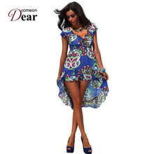 Comeondear Super Deal Everyday Dress Wholesale And Retail RK7648 Simple Summer Dresses Brand New Blue Soft Dress Floral Print(China)