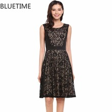BLUETIME Summer Vintage Dress Women Elegant Floral Lace Patch Pleated Hem Retro Tunic Sundress With Lining Black Blue clothes 30