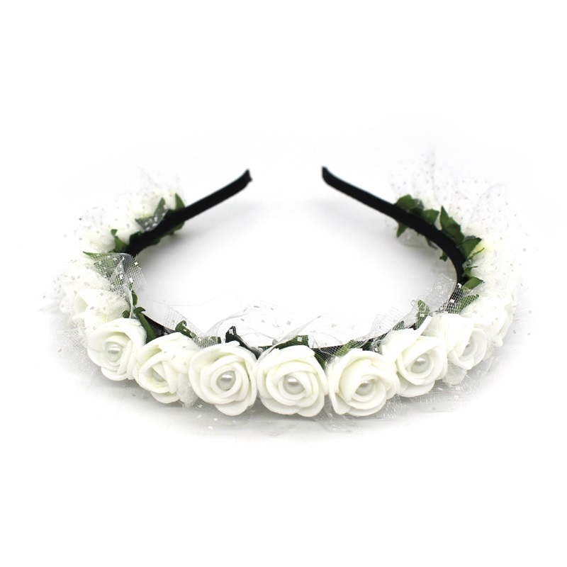 Lanxxy 17 New Fashion Pearl Flowers Hairbands for Girls Women Wedding Bridal Hair Accessories Floral Headbands 3