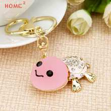 Christmas Gift Crystal Tortoise Keychain Girl Car Keyring for Chrysler LADA Hyundai BMW KIA Benz Mitsubishi Pontiac Renault VW(China)
