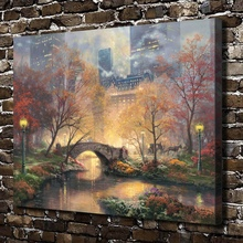 H1253 Thomas Kinkade Central Park in he Fall, HD Canvas Print Home decoration Living Room Bedroom Wall pictures Art painting(China)