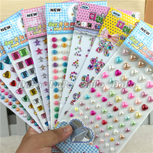 2017 Hot Cheap Promotional Many Styles Mixed Color Acrylic Sticker Pearls Rhinestones Crystal DIY Car Decoration Stickers