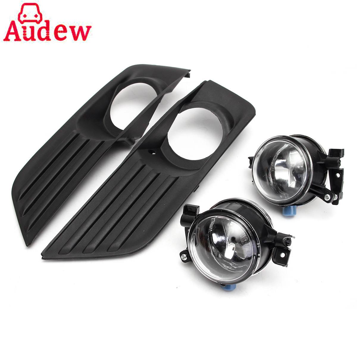 2Pcs Car Bumper Front Fog Lights Lamp + Cover Grille Kit Set For Ford/Focus 2005-2007<br>