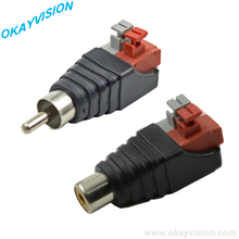 1 PAIR RCA Male+Female for CCTV,Phono RCA male plug RCA to 2pin spring connector CCTV ,CAT5 To Camera CCTV Video BNC Balun