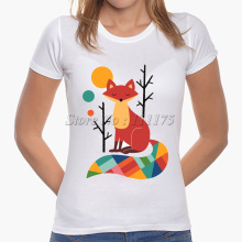 2017 Latest Fashion Women Colorful Fox Printed T shirt Charming Tops Fashion Novelty Lady Casual Short Sleeve Tees