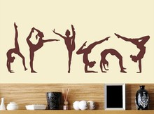 YUYOYU Six Dance Girls Gymnastics Wall Sticker Sport Vinyl Art Wall Mural Sticker For Home decoration Wall Papers Decor Y-228(China)
