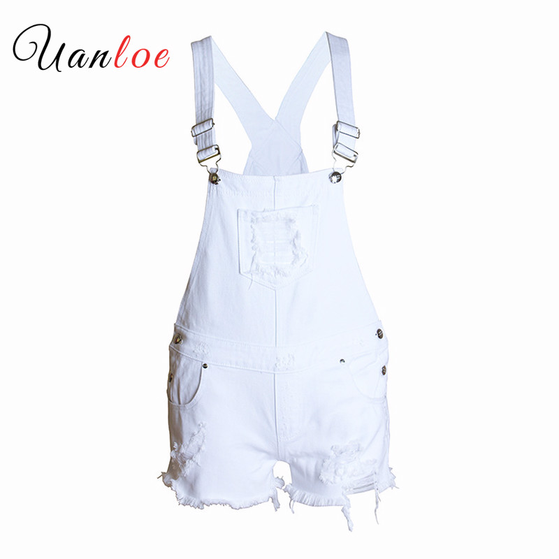 2019 Fashion Playsuits Women`s Ripped Denim Shorts Overall Jeans for Woman Popular Hole Jumpsuit