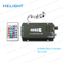 DC12-24V 24 Keys Music Controller IR Remote RGB Controller Sound Sensitive for 3528 5050 LED Strip Lights Music controller(China)