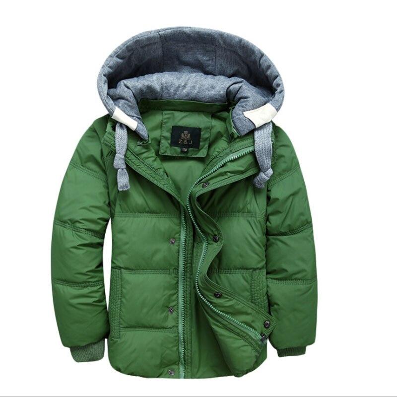2017 Winter Children Boys Down Jacket Coat Fashion Hooded Thick Solid Warm Coat Boy Clothing Outwear for 4-13 Years 6 colorsÎäåæäà è àêñåññóàðû<br><br>