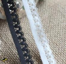 Free shipping small elastic laciness decoration lace elastic strap black and white, 1.3cm wide, 30m/lot per lot