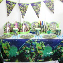 94pc Decorative Party Ninja Turtle Gift Bags Drawstring Bag Kids Favors Napkins Birthday Flags Wedding Party Decoration Supplies
