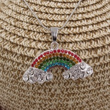 PROMOTION Daughter Birthday Gift Item Necklace Jewelry Alloy Rainbow Pendant Snake Chain Girls Necklace Kids Fairy Outfits Jewel