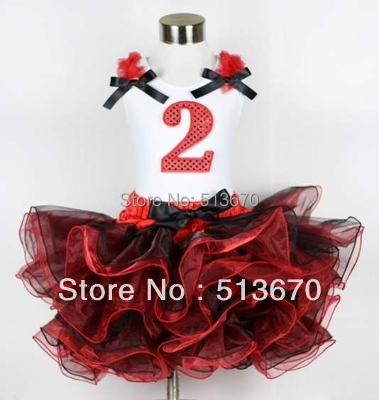 Red Black 8 Layered Pettiskirt Red Sparkle Number Ruffle Red Bow Tank Top MAMG576<br>