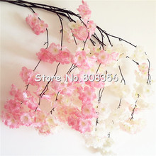 50p Cherry Flower Vine All Flower without green Leaf 1.3m Long Stem Romantic Sakura for Wedding Party Home Artificial Decoration(China)
